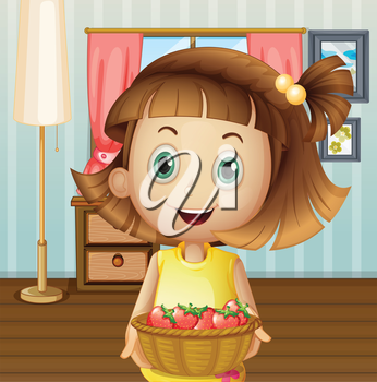 Illustration of a girl with a basket of berries inside the house