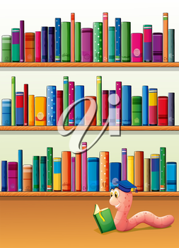 Illustration of an earthworm reading a book in front of the shelves with books