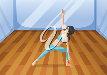 Illustration of a room with a girl performing yoga