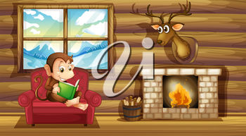 Illustration of a monkey reading at the chair near the fireplace