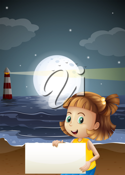 Illustration of a cute little girl holding an empty signboard at the beach