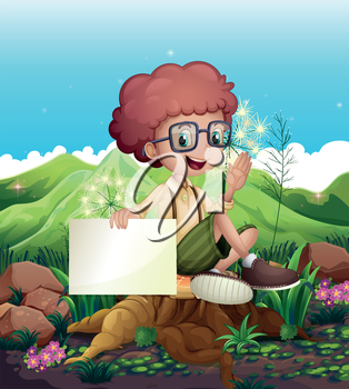 Illustration of a boy sitting above a stump holding an empty signboard