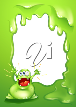 Illustration of a green border template with a green monster shouting