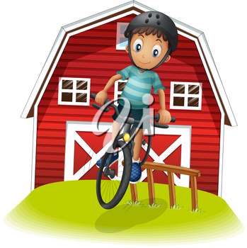 Illustration of a boy playing with his bike in front of the barnhouse on a white background