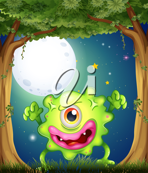 Illustration of a forest with a one-eyed green monster