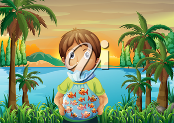 Illustration of a boy standing near the riverbank while holding a plastic of fish