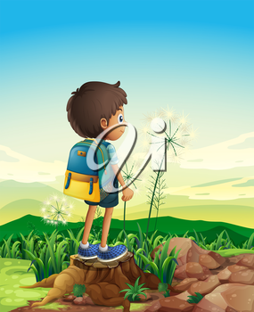 Illustration of a boy with a backpack standing above a stump