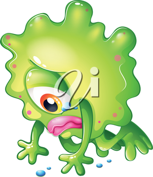 Illustration of a sad monster because of failure on a white background