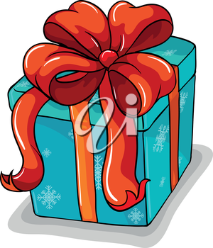 Illustration of a blue gift with a red ribbon on a white background
