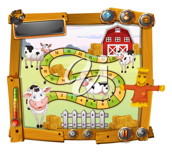 Game template with cows and barn illustration