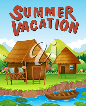Summer vacation theme with houses by the river illustration