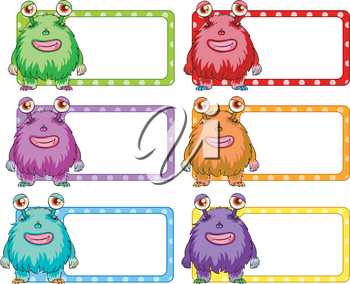 Square labels with colorful monster illustration
