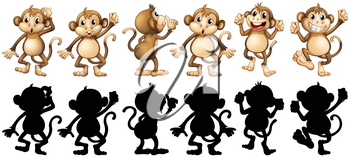Monkeys and its silhouette in different posts illustration