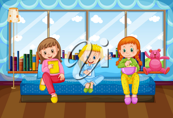 Three girls eating and drinking in bedroom illustration