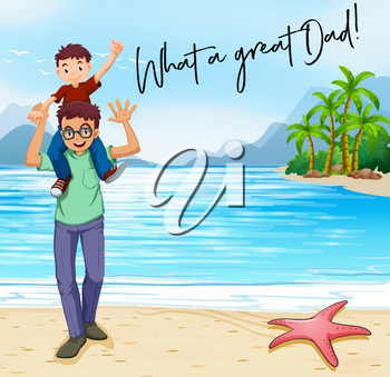Father and son on the beach  illustration
