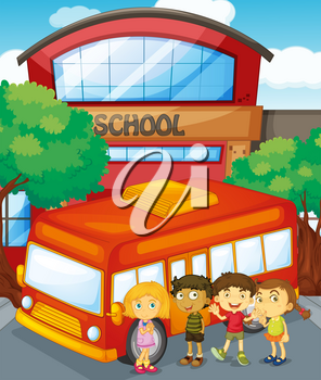 Children standing by schoolbus at school illustration