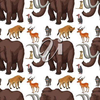 Seamless background with wild animals illustration