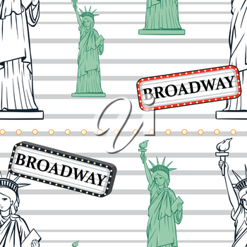 Seamless background with statue of liberty and broadway sign illustration
