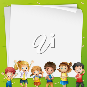 Paper template with many kids illustration
