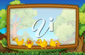 Frame template with four ducks in the park illustration