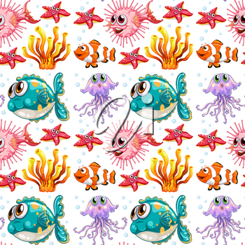 Seamless background with fish and coral illustration
