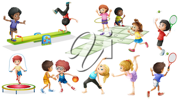Children doing different sports and games illustration