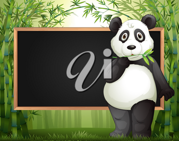 Border template with panda and bamboo illustration