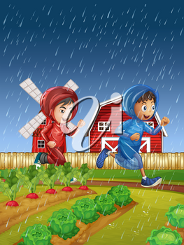 Two boys running in the rain illustration