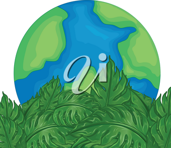 Environmental theme with earth and green leaves illustration