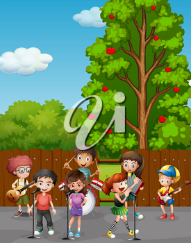 Kids singing and playing music on the road illustration