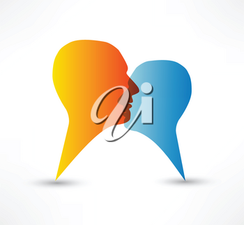 Royalty Free Clipart Image of Two People Talking