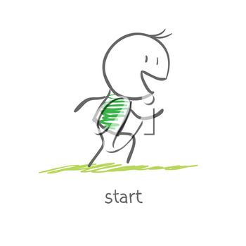 Royalty Free Clipart Image of an Athlete at the Start Line