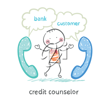 credit counselor talking on the phone with the bank and the customer