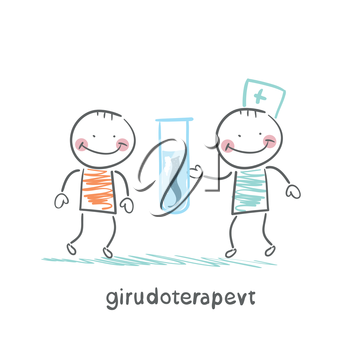girudoterapevt shows the patient tube with leeches