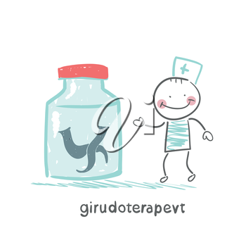 girudoterapevt stands next to a jar of leeches