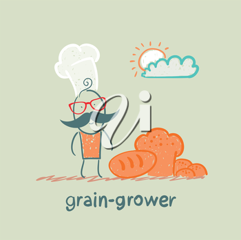 grain grower stands next to the bread