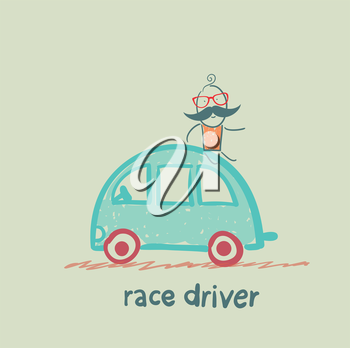 race driver sits on the machine