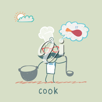 cook standing with a cauldron and a ladle
