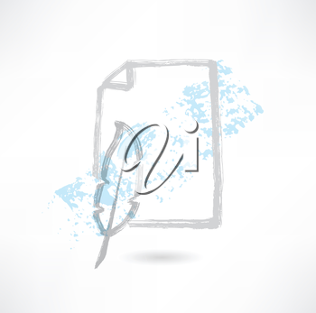 feather and paper grunge icon