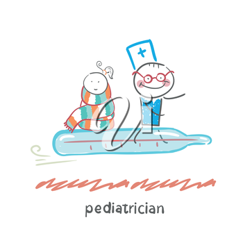 pediatrician is flying on a thermometer with a sick child