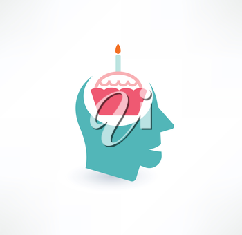 Cake and head icon. Thoughts about food concept. Logo design.