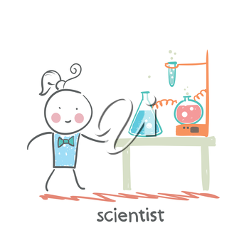 scientist with test tubes on the table