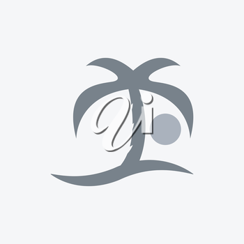 Sea palm sun icon