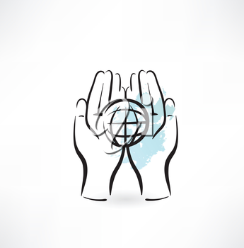 PROTECTING hands ecology icon