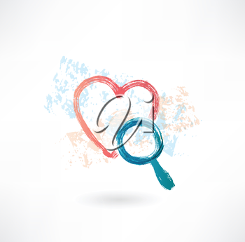 heart magnifier grunge icon
