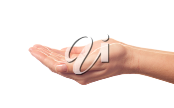 Begging human hand on white background