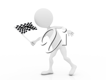 Royalty Free Clipart Image of a Figure with a Racing Flag