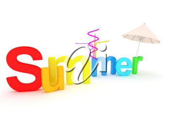 Royalty Free Clipart Image of Colourful Summer Text