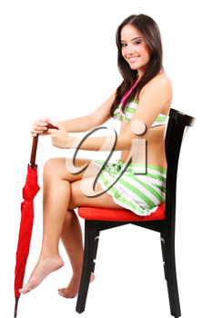 Beautiful lady holding a red umbrella closed isolated