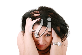 screaming woman, isolated over white background